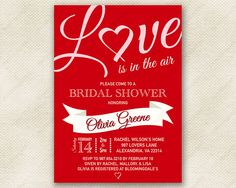 Love Bridal Shower Invitation in Red -- Romantic Script Font with Heart and White Banner.  Printable Digital File.