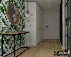 przedpokój, konsola, biała szafa, tapeta w liście Entryway Tables, Mirror, Interior, Furniture, Home Decor, Stylish, Sweet Home, Projects, Decoration Home