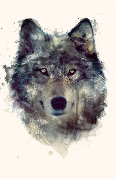 watercolor wolf Más