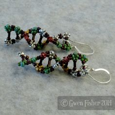 DNA Beaded Earrings in Green Spinel Brown Silver and Sterling Silver