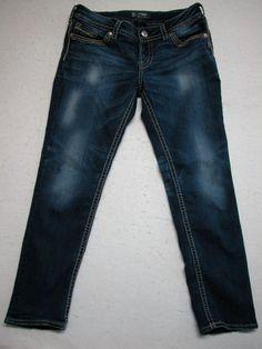 Silver Jeans SUKI 32X29 Thick Stitch Dark Wash Skinny Womens ( MEAS 32X27.5 ) #SilverJeans #SlimSkinny