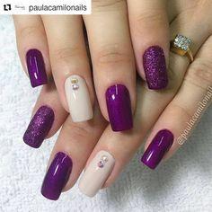 New Nails Design Elegant Purple Ideas Purple Nail Designs, Nail Art Designs, Nails Design, Fabulous Nails, Gorgeous Nails, Trendy Nails, Cute Nails, Nail Polish, Purple Nails