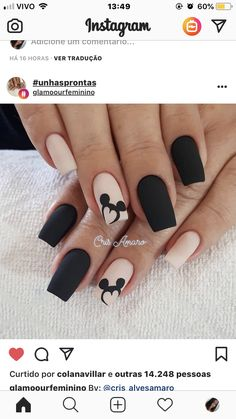 Ideas nails sencillas cortas negras for 2019 Disney Acrylic Nails, Almond Acrylic Nails, Cute Acrylic Nails, Acrylic Nail Designs, Cute Nails, Nail Art Designs, My Nails, Disney Nail Designs, Nails Design