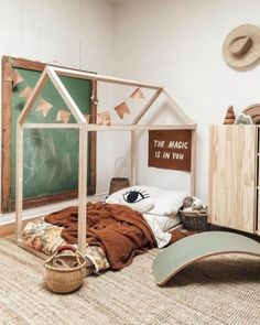 New Toddler bed Play house bed frame Bunk bed Home bed Wood house Floor bed Teepee bed Wooden bed Wo - luise Nursery Room, Kids Bedroom, Nursery Decor, Toddler Floor Bed, House Frame Bed, Bed Frame, Teepee Bed, Play Teepee, Baby Boy Rooms