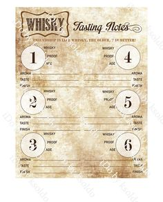 Whisky Tasting Notes Whisky Score Card Whisky Party by ksoldo
