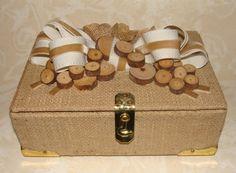 Burlap covered cigar box keepsake/wedding with by BlueEyedBlackDog, $35.00
