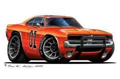 1969 Dodge Charger Dukes of Hazzard General Lee cartoon car Wall Sticker Graphic Decal Art Mural for Kids game room, Man Cave Garage, Den Home NEW Weird Cars, Cool Cars, Cartoon Car Drawing, Cars Cartoon, Cool Car Drawings, 1969 Dodge Charger, Truck Art, Garage Art, Automotive Art