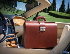 Luxury Leather Briefcase by Pineider  Handmade craftsmanship is the cornerstone of Pineider. The brand has become a symbol of Italian luxury and creativity with an illustrious history as one of the oldest leather manufacturers in the world.