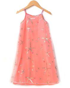 Baby Sara Coral Sequin Star Maxi Dress