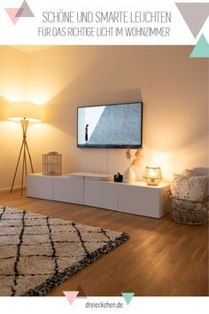 Smart home lighting: a lighting system for our living-dining area with a DIY table lamp in boho style - Beleuchtung Smart Home, Living Room Decor, Bedroom Decor, Living Room Interior, Philips Hue, Decorating On A Budget, Home Lighting, Lighting System, Small Living