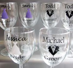 SINGLE DIY Personalized Wine Glass Wedding Decals, Bride, Groom, Groomsman, Bridesmaid, Maid of Honor, Best Man, Glasses NOT Included by SaidInStoneOnline on Etsy https://www.etsy.com/listing/159222415/single-diy-personalized-wine-glass