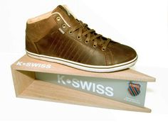 shoe display for K-Swiss Oak wood + frosted acrylic made by; www.brands-on-display.com