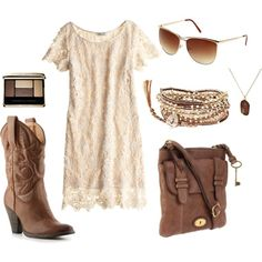 Cream & tan  I would add a belt.  Maybe with some turquoise.