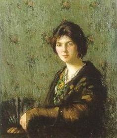 Ivan Olinsky (Russian-born American artist, 1878-1962) Black Lace Shawl