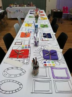 Paper table cloth with picture frames drawn on it