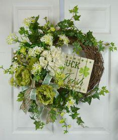 St Patrick's Day Luck of the Irish Wreath – Gaslight Floral Design - My CMS Mothers Day Decor, St Patrick's Day Decorations, Floral Decorations, St Patrick's Day Crafts, Luck Of The Irish, Irish Luck, Grapevine Wreath, Door Wreaths, Diy Wreath