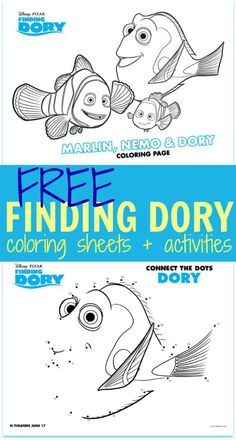 FREE Finding Dory Coloring Sheets + Kids Activities - Printables! #FindingDory