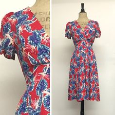 Rita Dress - Knee Length - Birds of Paradise Red - French Rayon Crepe