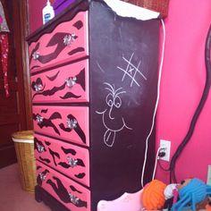Zebra dresser I refinished with chalkboard sides. Photo by ctenisci