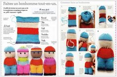 Little Dude Dolls knitting pattern by Jane Bull from the book Stitch by Stitch Knitted Dude Dolls, Knitted Doll Patterns, Baby Knitting Patterns, Crochet Patterns, Knitting For Kids, Loom Knitting, Knitting Stitches, Knitting Projects, Teddy Bear Knitting Pattern