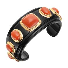 Carved Black Onyx & Coral Cuff Bracelet with Yellow Gold