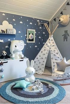 Kids tepee with pandas to buy on Etsy - HappySpacesWorkshop - boys room decor, tepee, wigwam, kids house, scandinavian style kids room, miffi