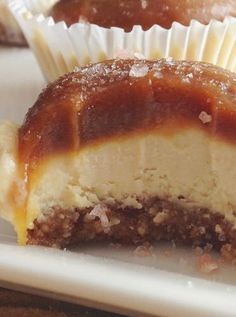 Salted caramel cheesecake bites. Get this recipe and more tasty and healthy desserts.