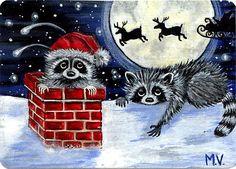 Original Raccoon Christmas Santa's Sleigh Reindeer Full Moon Snow ACEO Print