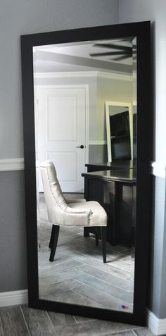 Darby Home Co Black Satin Full Length Beveled Body Mirror Size: My New Room, My Room, Dorm Room, Full Body Mirror, Tall Mirror, Large Mirrors, Black Mirror, Dream Bedroom, Decor Room