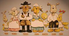 Kuvassa: Kille, mummo, Pransi, Fiina, Martta, vaari ja Elsa.  Oulu (Finland)