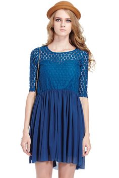 ROMWE | Romwe Double-layered Hollowed Blue Dress, The Latest Street Fashion