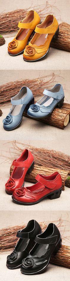 US$38.99   SOCOFY Flower Leather Vintage Pumps Soft Mid Heel Sandals