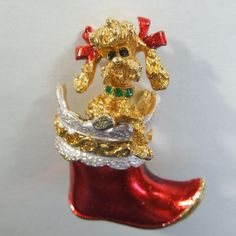 MYLU Christmas Pin - Poodle Puppy Dog in Stocking  The Big O Exclusive to Ruby Lane......