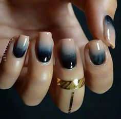 Nude and Navy blue ombre