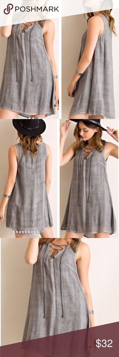 """🌺HOST PICK 6/26🌺LIGHTWEIGHT LACE UP SHIFT DRESS Washed rayon shift dress in Dusty Blue, features trendy, lace up v-neck. Fully lined, non sheer. Woven, lightweight. 100% comfortable rayon. AVAILABLE IN DUSTY BLUE IN A SEPARATE LISTING.                                                                      ♦️S: bust 36"""" length 31.5""""                                                  ♦️M: bust 38"""" length 32""""                                                  ♦️L: bust 40"""" length 32.5"""" tla2 Dresses…"""
