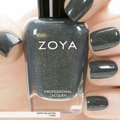 """Zoya """"Yuna"""" :: """"A gray with copper and gold liquid metal and warm undertones; effortlessly opaque in two coats."""" (from the Ignite Collection)"""