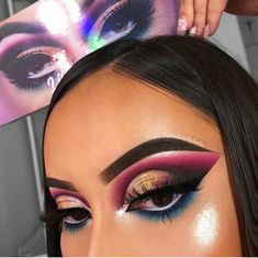 Champagne gold and purple dramatic cut crease eyeshadow look - Prom Makeup Black Girl Eye Makeup Tips, Makeup Goals, Makeup Inspo, Makeup Art, Beauty Makeup, Hair Makeup, Makeup Ideas, Makeup Products, Makeup Hacks