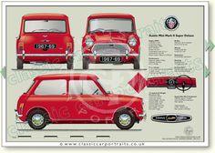 Austin Mini MkII 1967-69 Super Deluxe 1000cc classic car portrait print