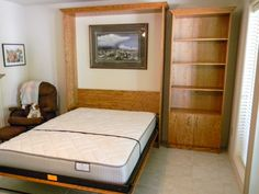 Fremont Collection Murphy bed with a custom side cabinet in Oak, by Murphy Wallbed USA murphywallbedusa.com #murphy #bed #wallbed #murphybed #murphywallbedusa