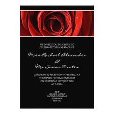 Beautiful Red Rose Wedding Invitiation- Black Card
