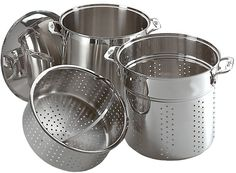 All-Clad E796S364 Specialty Stainless Steel Dishwasher Safe 12-Quart Multi Cooker Cookware Set, 3-Piece, Silver -- Read more at the image link.
