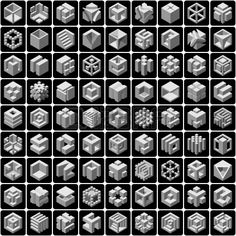 set of 81 vector cube icons Stock Vector
