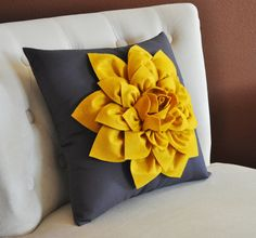 Hey, I found this really awesome Etsy listing at https://www.etsy.com/listing/115169884/decorative-flower-pillow-mustard-yellow