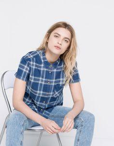 Pull&Bear - dames - denim collection - geruit overhemd met zak - blauw - 05470323-V2016