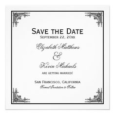Elegant Vintage Black and White Save the Date Personalized Invitations
