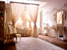 drapes of fabric in the bathroom? yes please.