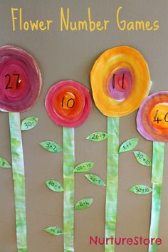 I love all the variations for these spring flower number games - fun kids math for all ages