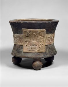 Tripod Vessel with Date Glyph Date: century Geography: Mexico, Mesoamerica Culture: Aztec Medium: Ceramic Dimensions: H. x cm) Classification: Ceramics-Containers Cerámica Ideas, Vases, Aztec Culture, Mexico Culture, Mesoamerican, Arte Popular, Ancient Artifacts, Ceramic Clay, Mud