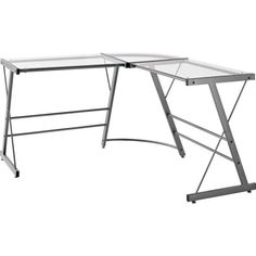 Ameriwood Home Oxford L-Shaped Gray Desk, Gray (Solid)