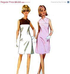Mod 1968 Vintage Shift Dress Sewing Pattern by VintageCorePatterns, $4.50